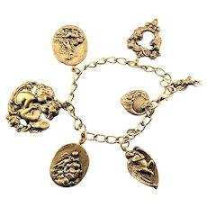 Gold Plated Angel & Love Theme Charm Bracelet