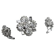 Clear Rhinestone Brooch & Earring Set
