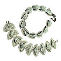 Signed BSK Necklace & Bracelet Silver Plated Set