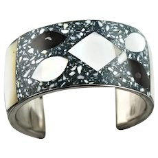 Wide Mosaic Inlay Shell & Mother Of Pearl Bracelet