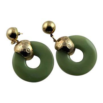 Pierced Green Lucite 1960's Earrings