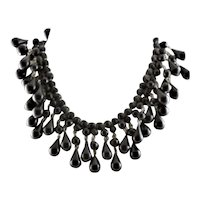 Glamorous Black Lucite Bead Necklace