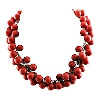 Red Marble Size Bakelite Necklace
