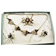 Original Box Necklace, Brooch & Earrings Set