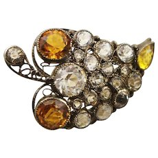 Amazing Vintage 1920's Hobe Marked Multi Colored Rhinestone Stone & Golden Sterling Brooch
