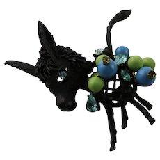 Vintage Hattie Carnegie Black Beaded Donkey Brooch