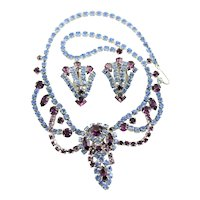 Beautiful Blue & Lavender Rhinestone Juliana Set
