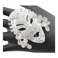 Vintage Designer Clear Rhinestone Mask Brooch
