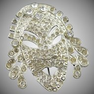 Vintage Book Piece Clear Rhinestone Face Brooch