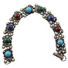Marked Florenza Colored Glass Stone Bracelet