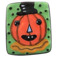 Halloween  Pumpkin Ceramic Tile Brooch