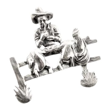 Signed t Foree Sterling Cowboy Smoking Pipe Pin