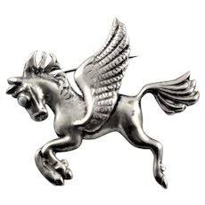 Signed Silver, Mexico Flying Horse Brooch