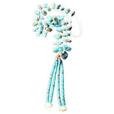 Amazing Museum Quality Pueblo-Made Santa Domingo Jocla Turquoise Chunk Necklace