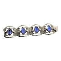 Handmade Marked Sterling & Blue Convex Glass Stones Bracelet