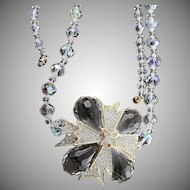 Grand Vintage Kenneth Jay Lane Lucite & Clear Rhinestone Brooch Crystal Necklace