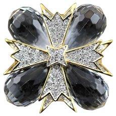 KJL Clear Lucite & Crystal Maltese Cross Pendent