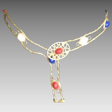 Vintage Juliana D&E Belt With Red White Blue Cabochons