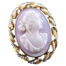Fabulous Victorian Carved Shell Cameo 14K Gold Brooch