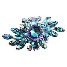 Outstanding Judy Lee Marked Blue Fancy Brooch