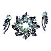 Juliana Blue Rhinestone Brooch & Earrings