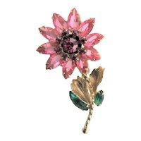 Pink Crystal Flower Juliana Brooch