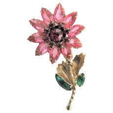 Pink Crystal Flower Juliana Brooch