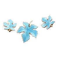 Stunning Aqua Enamel Brooch & Earrings Set