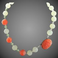 Fabulous Vintage Celadon And Carved Carnelian Necklace