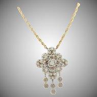 Vintage '70's Florenza White Enamel Necklace
