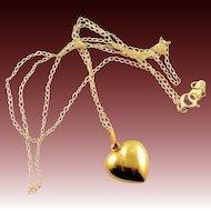 Vintage 14K Gold Heart Charm & Chain