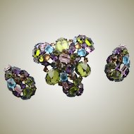 The Best Vintage Schreiner Jewel Tone Brooch & Earring Set