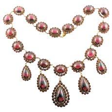 Bohemian Rose Cut & Cabochon Garnet Necklace