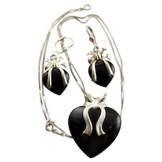 Marked Black Onyx & Sterling Set