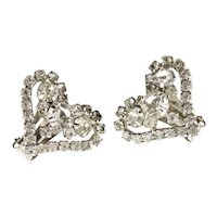 Romantic Heart Shaped Clear Rhinestone Earrigs