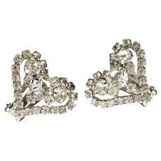 Romantic Heart Shaped Clear Rhinestone Earrigs