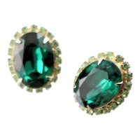 Green Rhinestone Kramer Clip Earrings