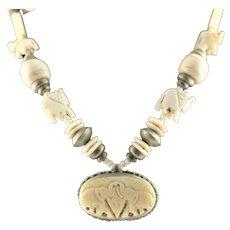Grand Carved Bone Elephant Necklace