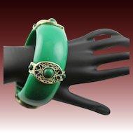 Kenneth Jay Lane Large Bold Jade Like Bangle Bracelet With 18K Gold Plate