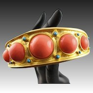 Estate Find Kenneth Jay Lane 22K Gold Plated Bangle Bracelet With Coral Colored Cabochons