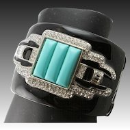 Kenneth Jay Lane Spectacular Cuff Bracelet With Faux Turquoise