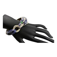 Ciner Navy Blue Enamel Zebra Bracelet