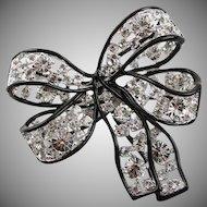 Kenneth Jay Lane Silver And Black Swarovski Crystal Bow Brooch