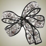 Kenneth Jay Lane Silver And Black Swarovski Crystal Bow Brooch