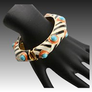 Kenneth Jay Lane Zebra Stripe With Coral & Turquoise Colored Faux Cabochons