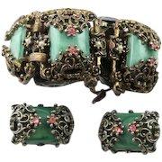 Great Vintage Etruscan Revival Style Bracelet & Earrings