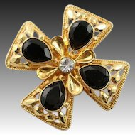 Beautiful Vintage St. John Maltese Cross Gold & Black Brooch/Pendant