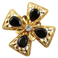 Beautiful Vintage St. John Maltese Cross Gold & Black Brooch/Pendent