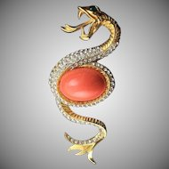 Magnificent Gold Tone Serpent Brooch By Kenneth Jay Lane