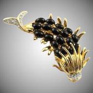 Fabulous Kenneth Jay Lane Open Mouth Black & Gold Fish